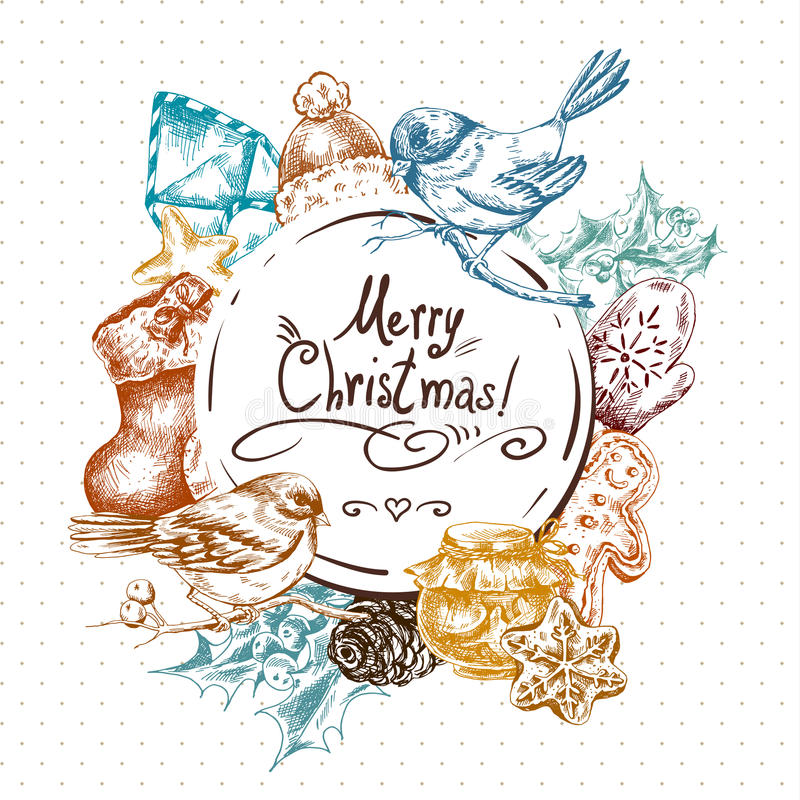与圣诞节的冬天手拉的贺卡 库存例证