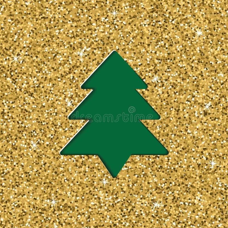 与圣诞节的层状被删去的纸贺卡与闪烁纹理作用 也corel凹道例证向量 库存例证