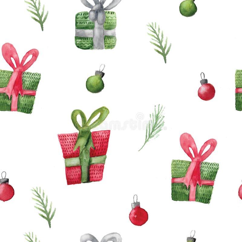 与圣诞节礼物的无缝的水彩样式 包裹的Xmas装饰 库存例证