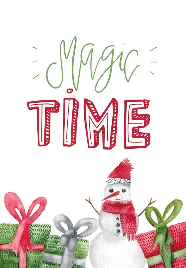 与圣诞节礼物的水彩海报 包裹的Xmas装饰,贺卡,雪人 库存例证