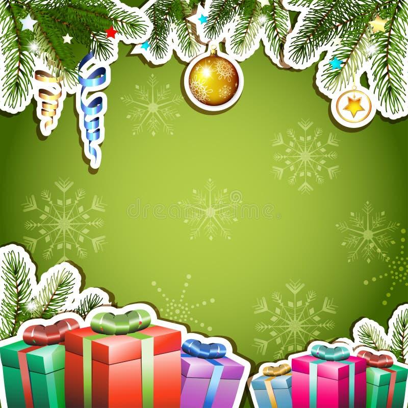 与圣诞节礼物的绿色背景 向量例证