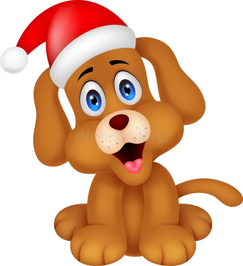 与圣诞节红色帽子的狗动画片 皇族释放例证