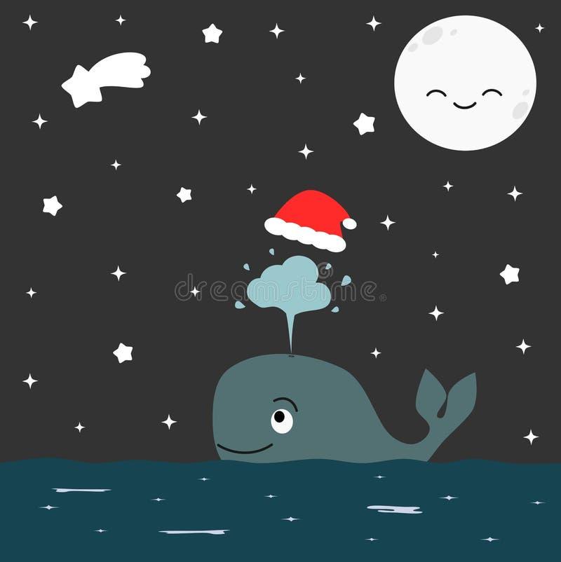与圣诞节红色帽子的逗人喜爱的动画片鲸鱼在繁星之夜例证 皇族释放例证