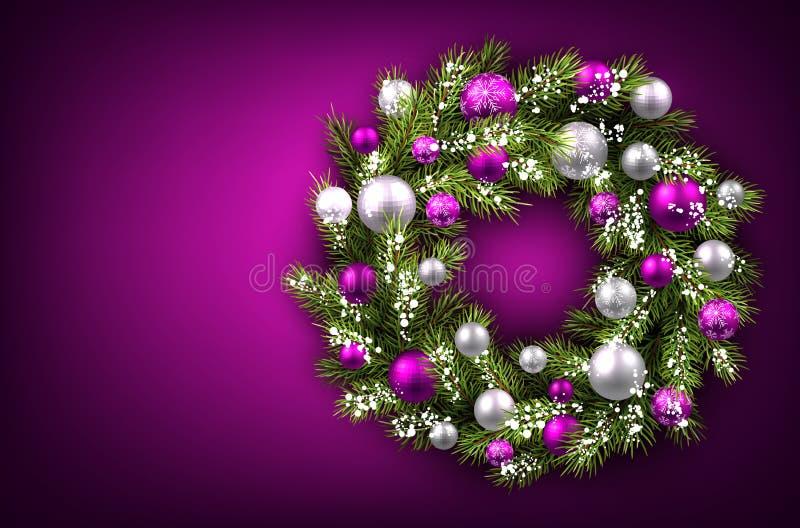 Download 与圣诞节花圈的背景 向量例证. 插画 包括有 气球, 紫色, 框架, 冷杉, 装饰, 内部, 干部, 材料 - 62539101