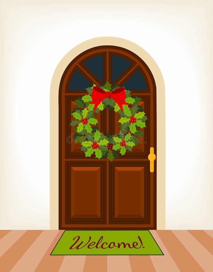 与圣诞节花圈的门 库存例证