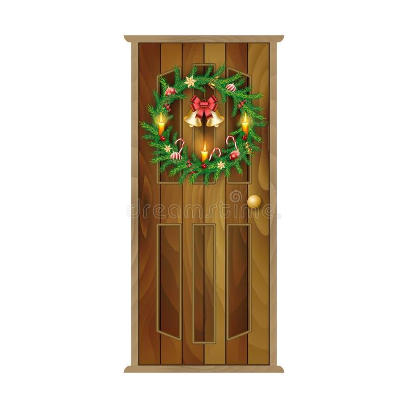 与圣诞节花圈,响铃,蜡烛的木门 库存例证