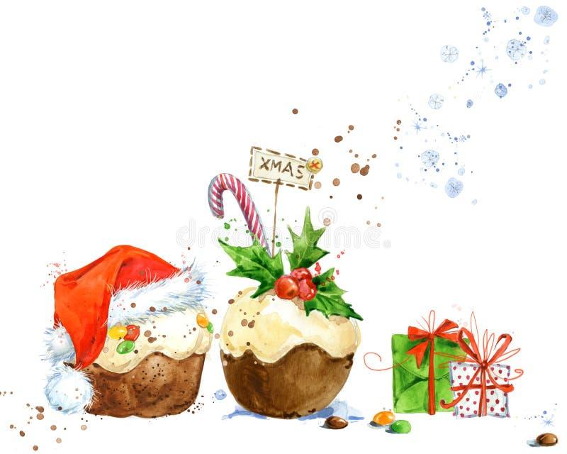与圣诞节蛋糕的圣诞卡 水彩圣诞节蛋糕例证 新年邀请卡片的背景 向量例证