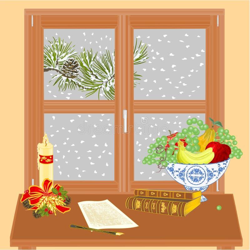 与圣诞节蜡烛和旧书传染媒介的冬天窗口 库存例证