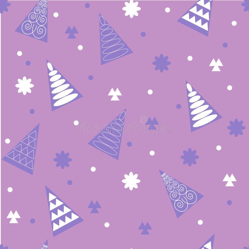 与圣诞节装饰从雪花,云杉的无缝的假日样式 皇族释放例证