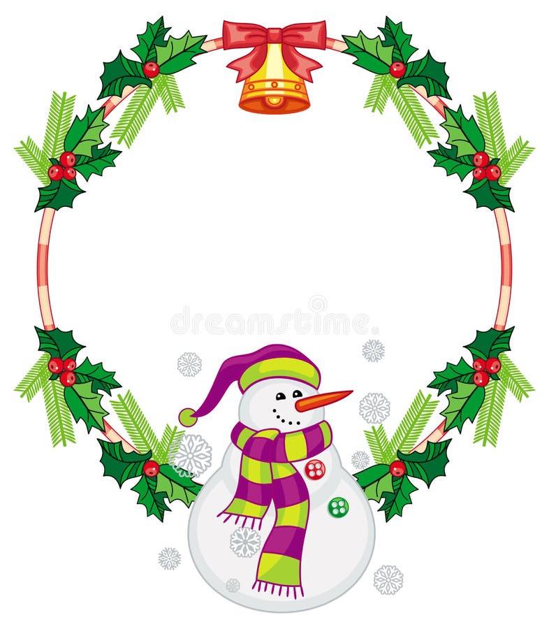 与圣诞节装饰和雪人的圆的框架 向量例证