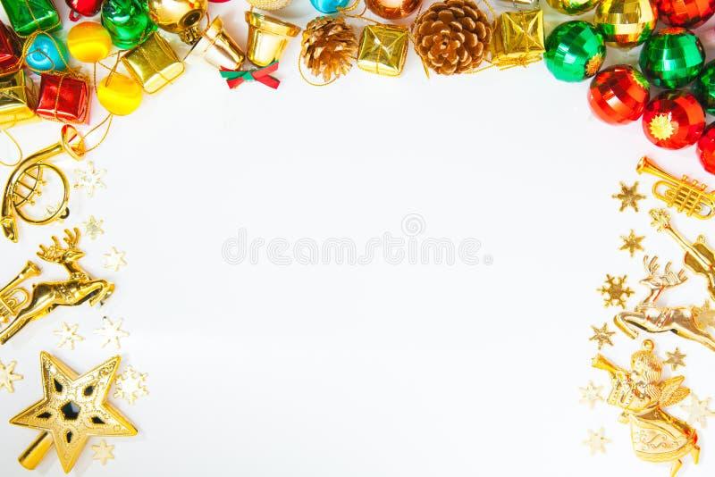 与圣诞节装饰品的圣诞节框架和装饰和警察 免版税库存图片