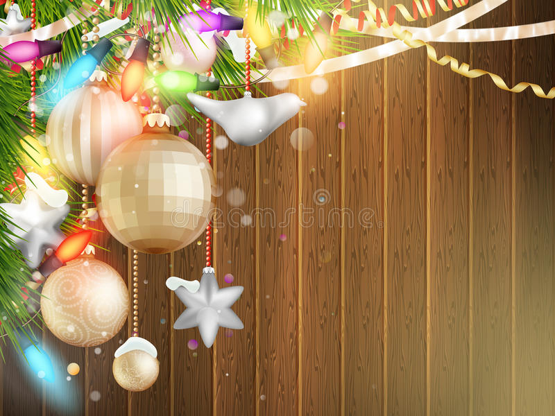 与圣诞节装饰的假日例证 10 eps 库存例证