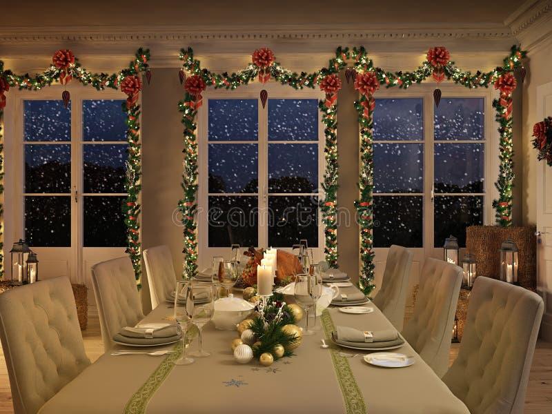 与圣诞节装饰的北欧吃饭的客人桌在夜之前 3d翻译 图库摄影
