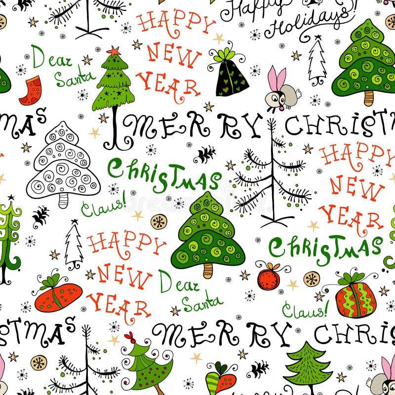 与圣诞节词组的无缝的手写的样式 向量例证
