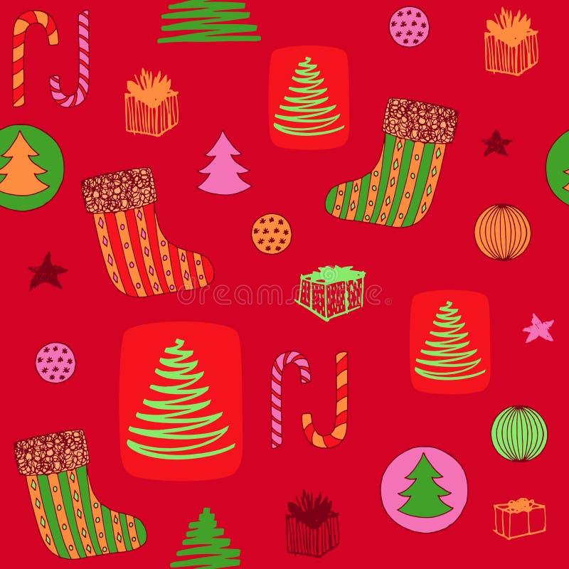与圣诞节长袜,糖果,圣诞树,球ang礼物的新年五颜六色的无缝的样式 拉长的现有量向量 皇族释放例证