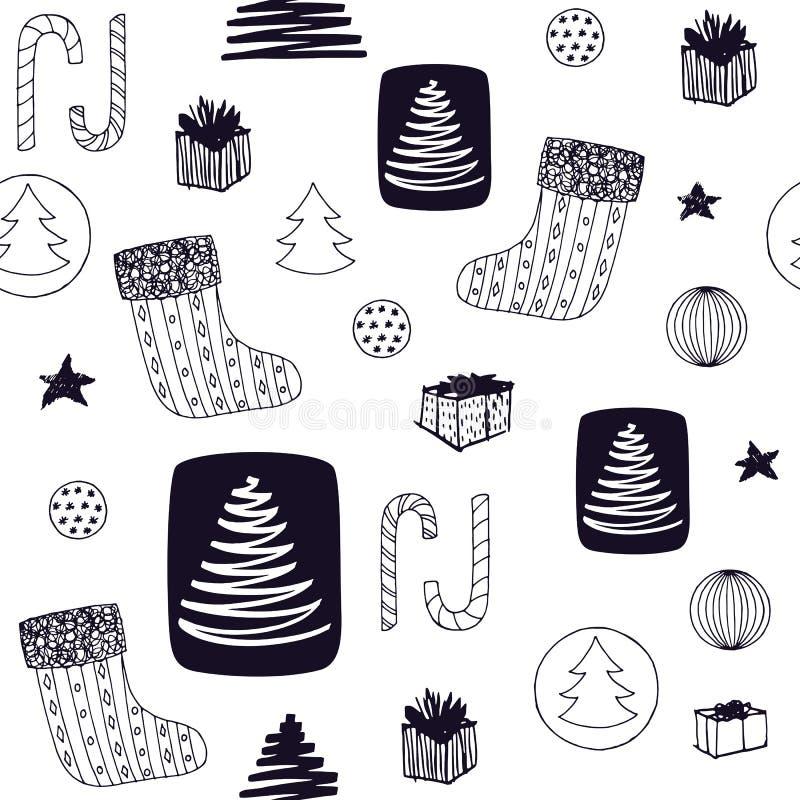 与圣诞节长袜,糖果,圣诞树,球ang礼物的新年五颜六色的无缝的样式 拉长的现有量向量 库存例证