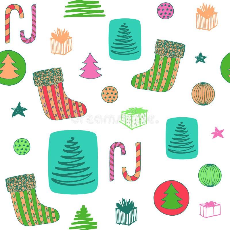 与圣诞节长袜,糖果,圣诞树,球ang礼物的新年五颜六色的无缝的样式 拉长的现有量向量 向量例证