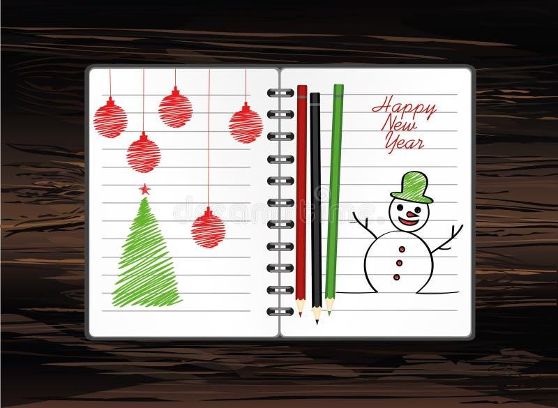 与圣诞节雪人的笔记本模板和球和铅笔 在木背景的传染媒介 贺卡在度假 一现实 库存例证