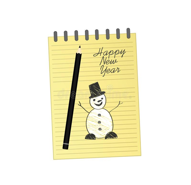 与圣诞节雪人的笔记本模板和球和铅笔 在白色背景的传染媒介 贺卡在度假 一现实 向量例证