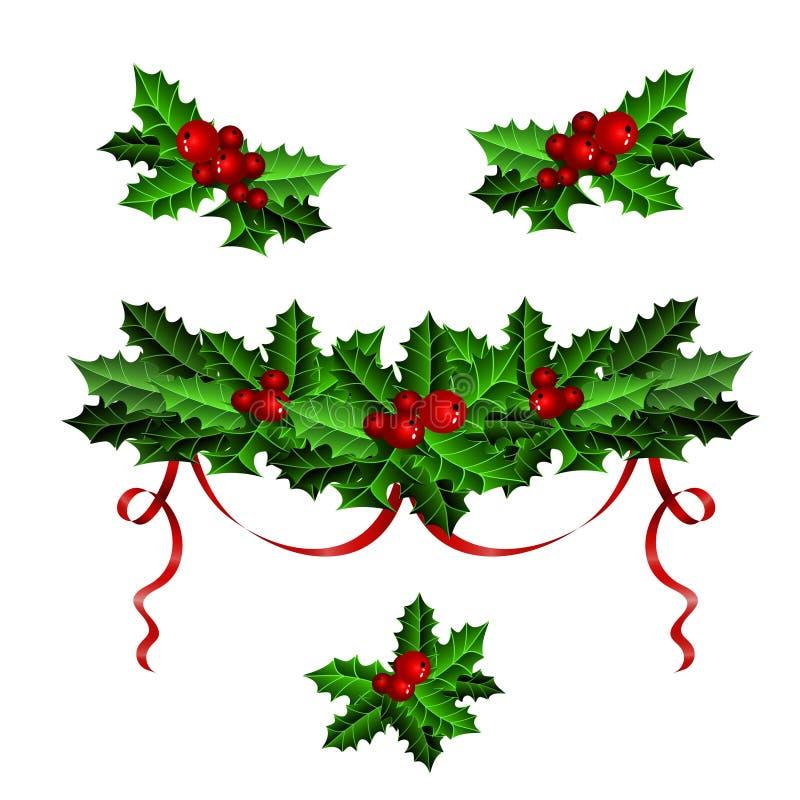 与圣诞节霍莉集合的装饰元素 皇族释放例证