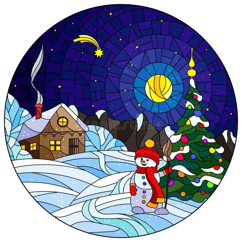 与圣诞节风景、土气房子、圣诞树和雪人的彩色玻璃例证在满天星斗雪的背景和的夜 皇族释放例证