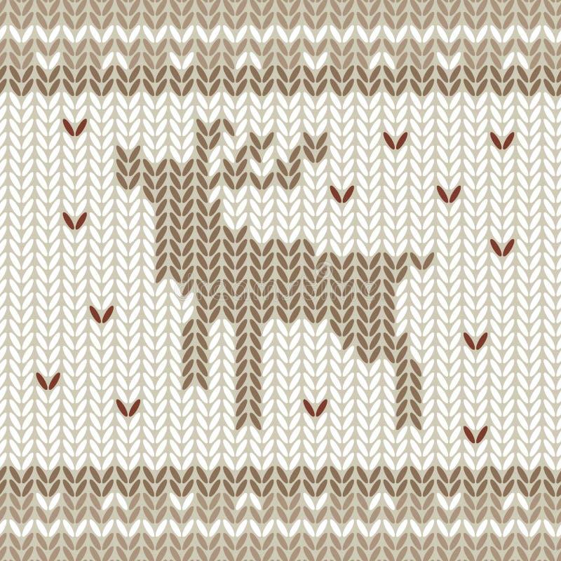 与圣诞节鹿和雪花的被编织的传染媒介样式 在颜色的手拉的冬天毛线衣纹理的棕色和米黄 向量例证