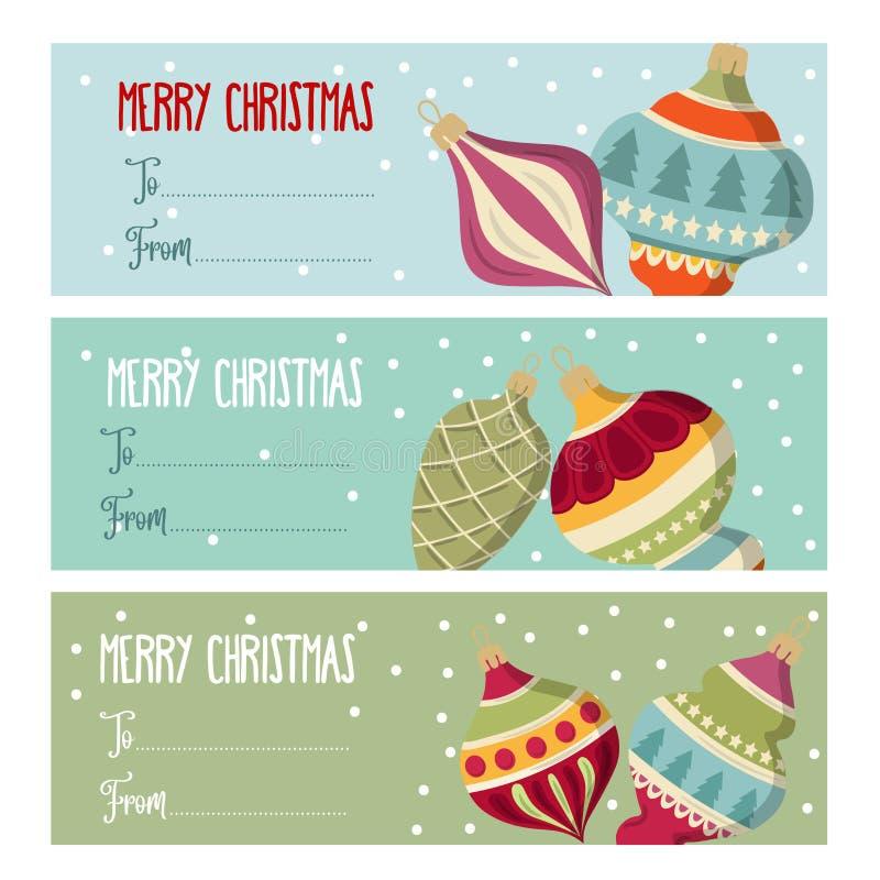 与圣诞节bal的逗人喜爱的平的设计圣诞节标签收藏 库存例证