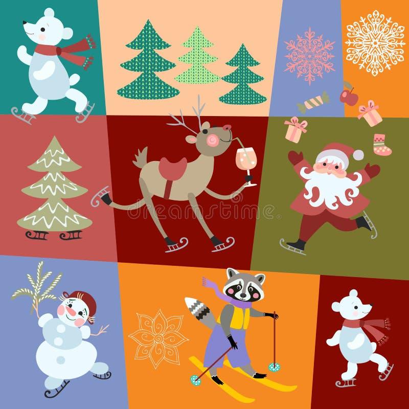 与圣诞装饰、礼物、圣诞老人项目、雪人、北极熊、逗人喜爱的浣熊、鹿和雪花的无缝的传染媒介样式 向量例证