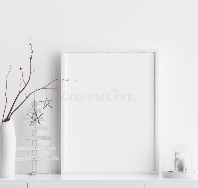与圣诞装饰的假装海报框架在家庭内部,斯堪的纳维亚样式 向量例证
