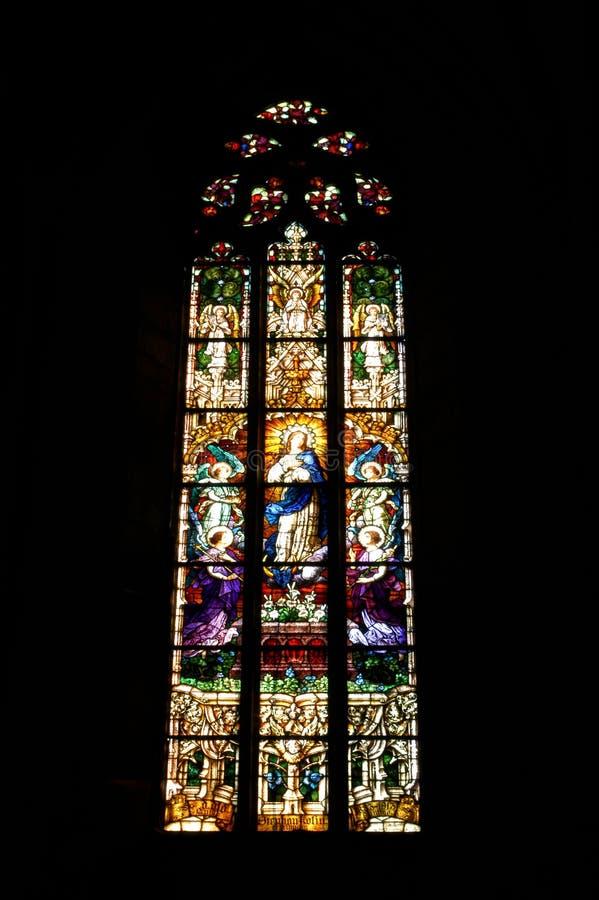 与圣经的场面的污迹玻璃窗细节 免版税库存图片
