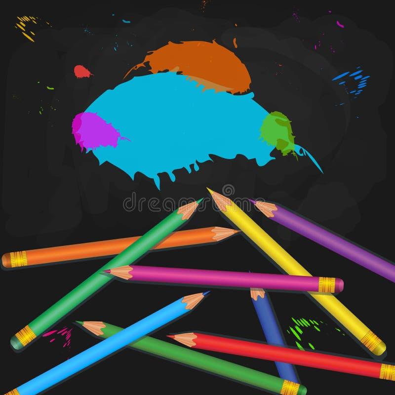 与在与油漆的黑黑板背景隔绝的现实五颜六色的铅笔堆的学校用品飞溅和泼溅物 向量例证