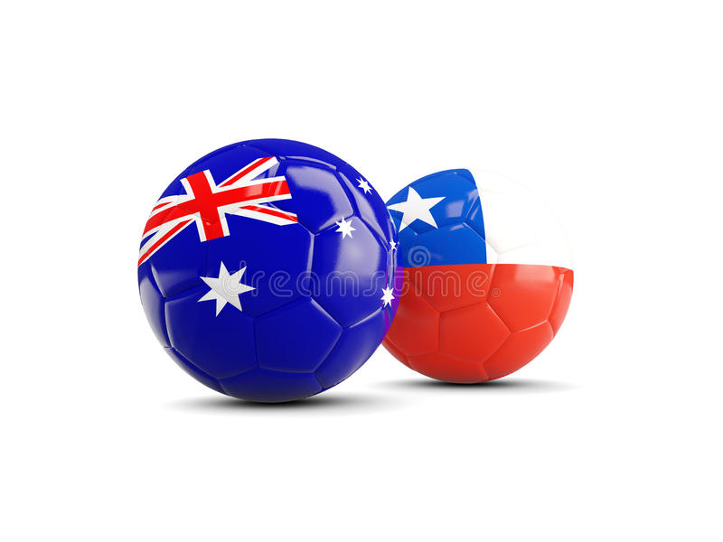 与在丝毫和智利的隔绝的旗子的两橄榄球澳大利亚 库存例证