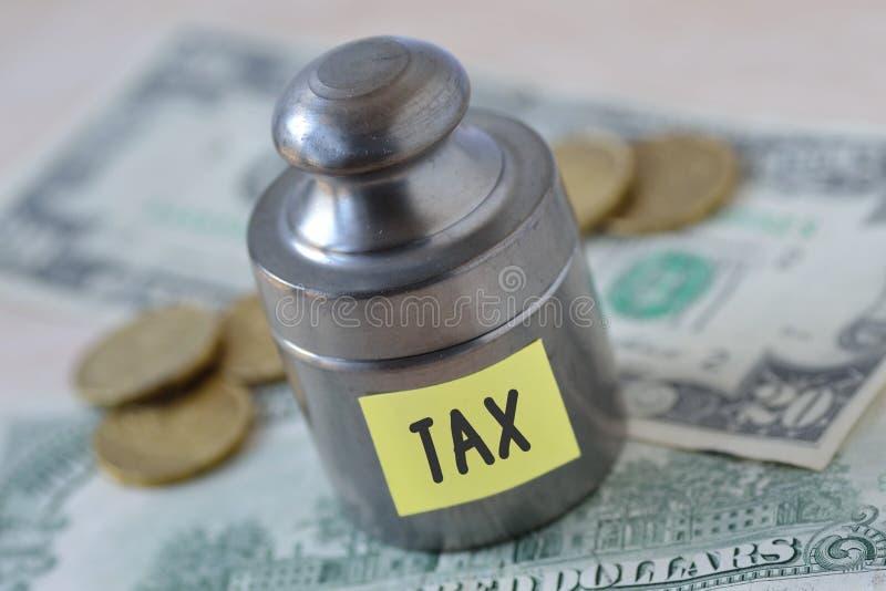 与在关于美元banknot的纸笔记写的词税的重量 库存图片