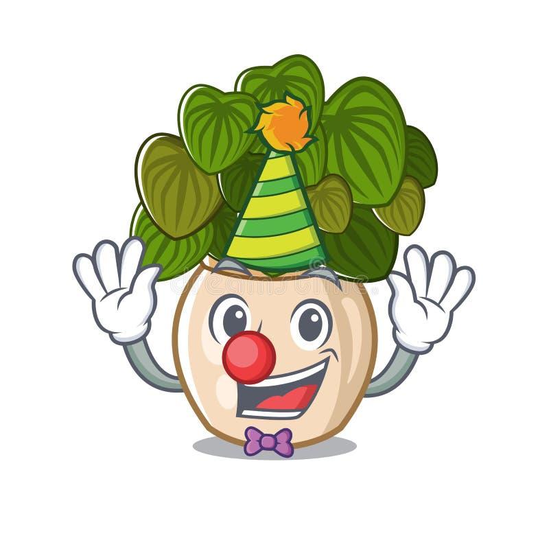 与在动画片形状的小丑豆瓣绿草 库存例证