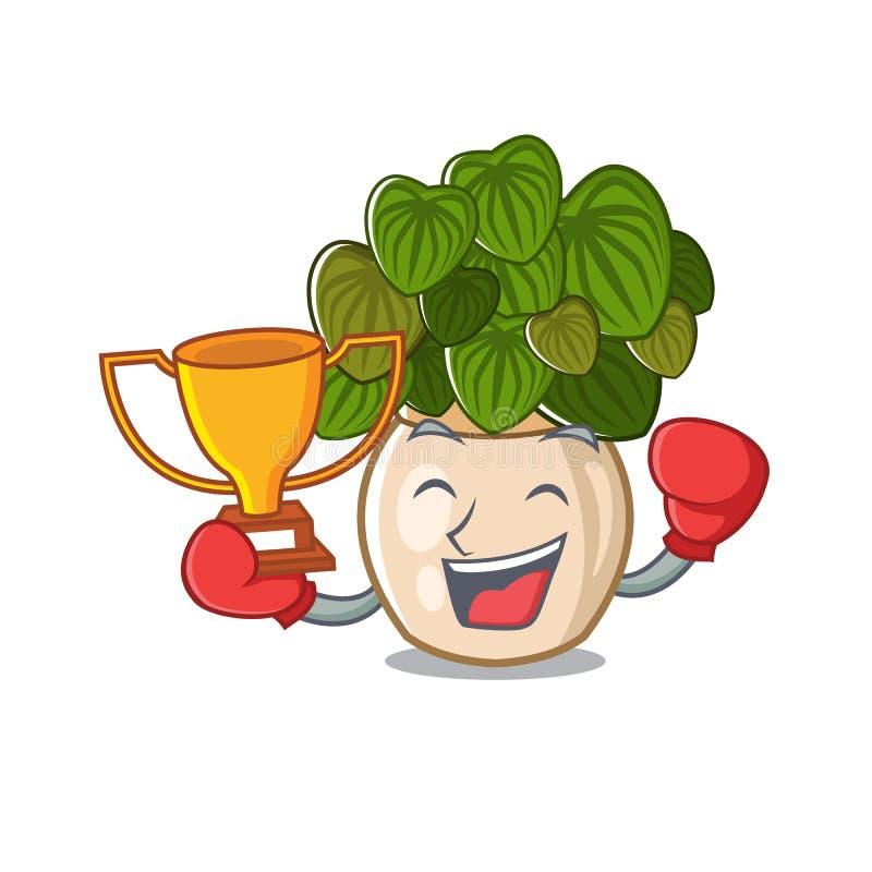 与在动画片形状的把装箱的优胜者豆瓣绿草 皇族释放例证