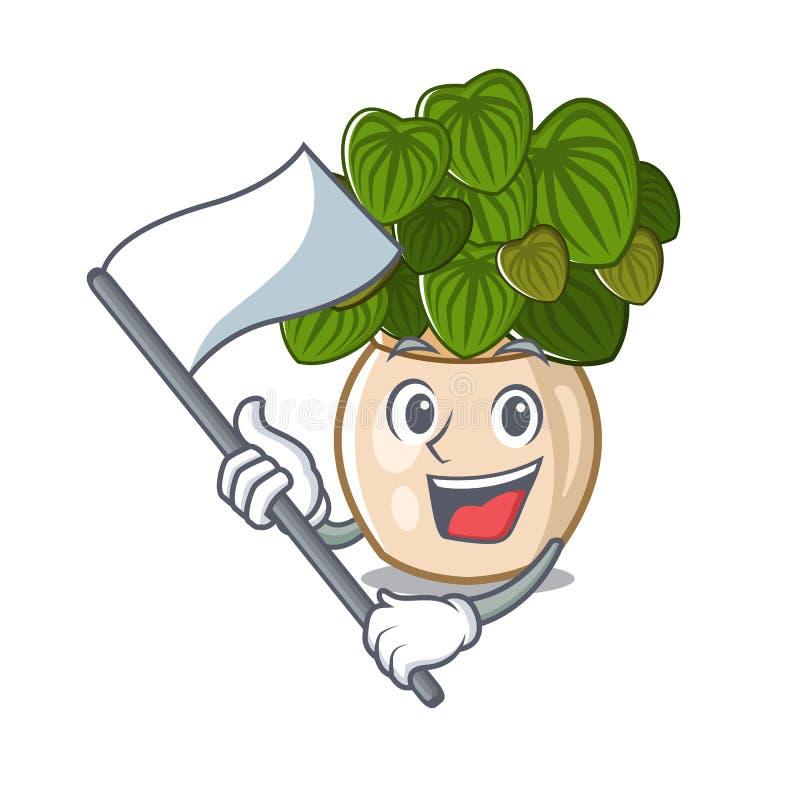 与在动画片形状的旗子豆瓣绿草 皇族释放例证