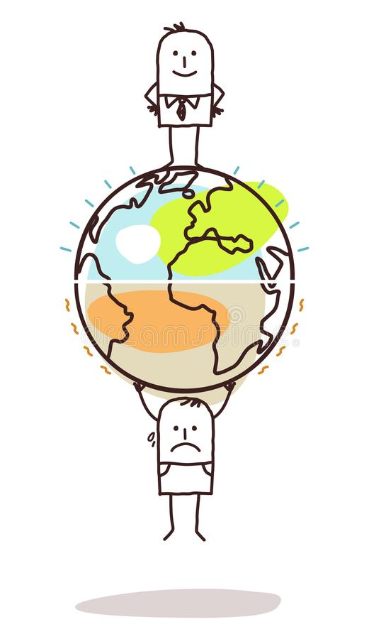 与在双方划分的人的动画片地球 向量例证