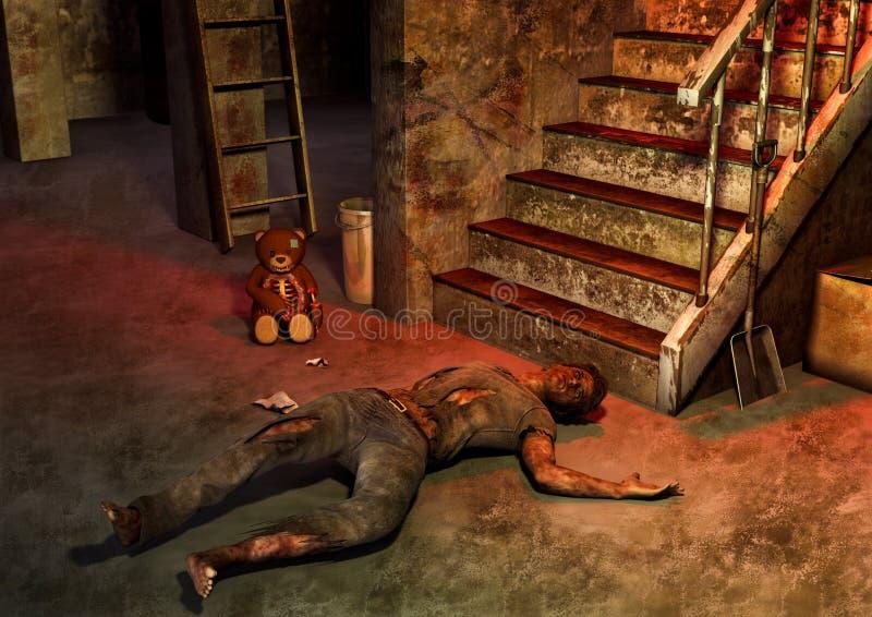 与在地板的一个被困扰的玩具熊和尸体的一个蠕动的场面 向量例证