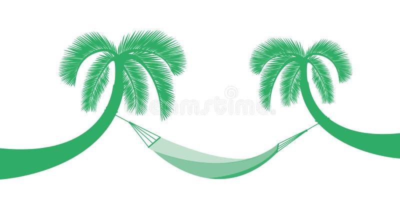 与在夏天休假设计的白色背景隔绝的吊床的两棵棕榈树 库存例证