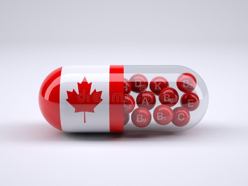 与在它和红色维生素球附近被包裹的加拿大旗子的药片 库存例证