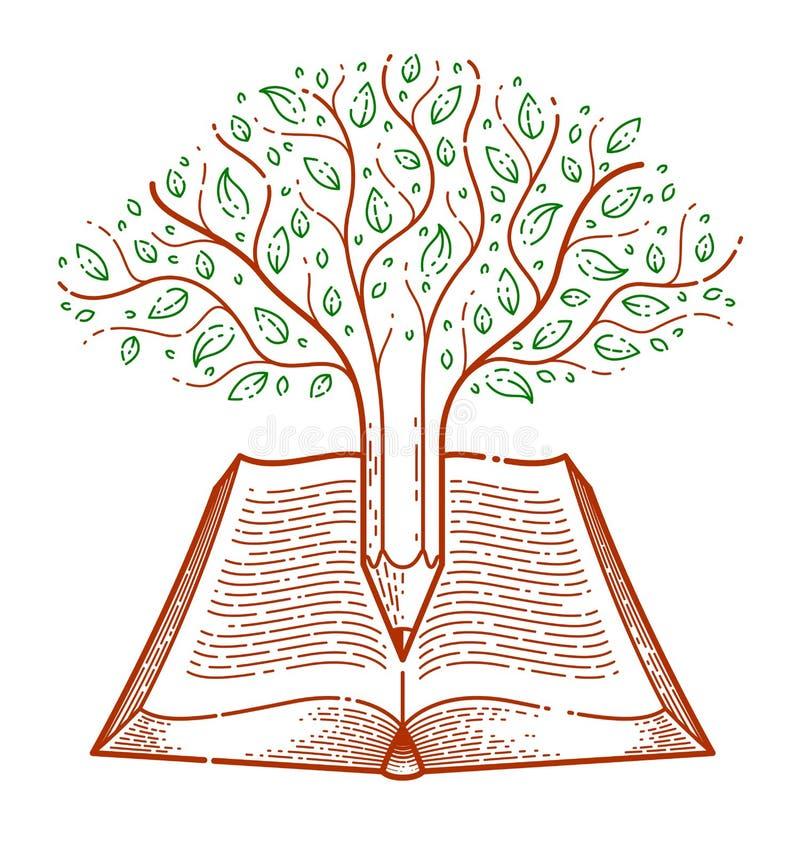 与在开放葡萄酒书教育或科学知识概念,教育或者科学文献的铅笔结合的树 皇族释放例证