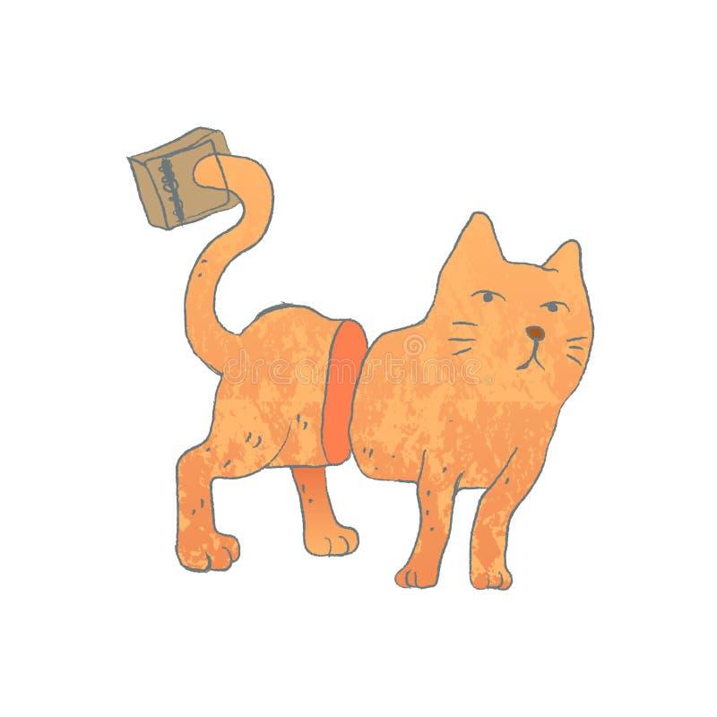 与在捕鼠器捉住的尾巴的猫 库存例证
