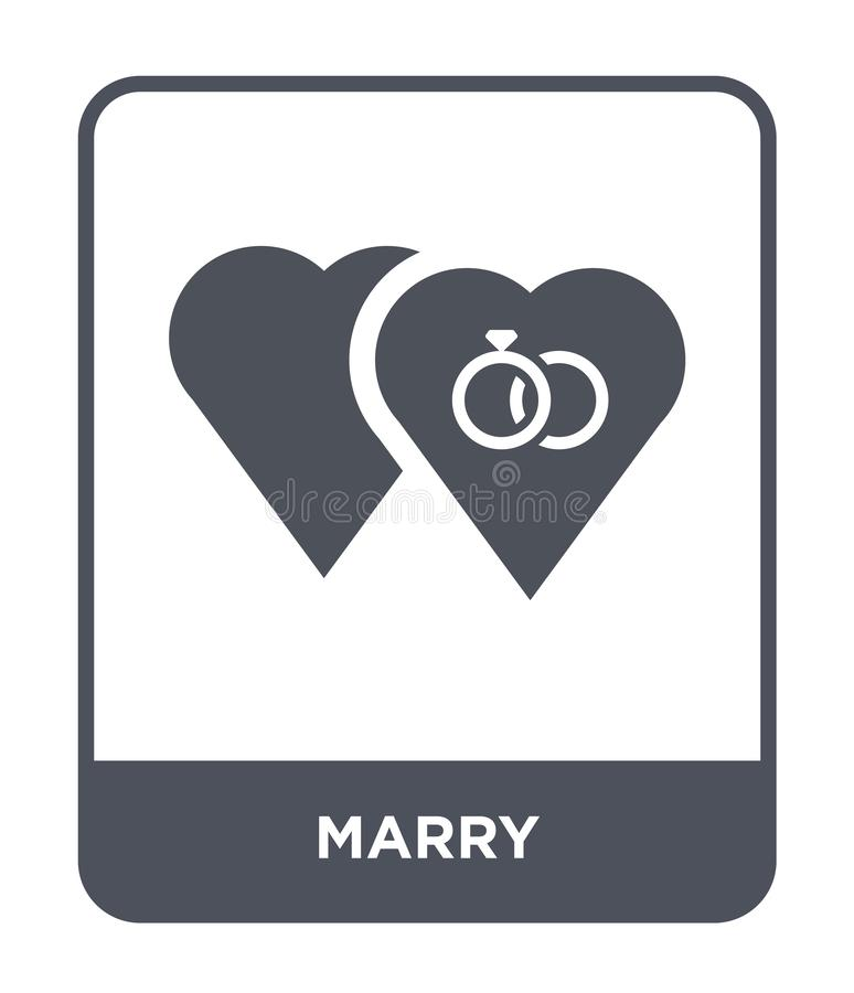 与在时髦设计样式的象结婚 与在白色背景隔绝的象结婚 与传染媒介象简单和现代平的标志结婚为 向量例证