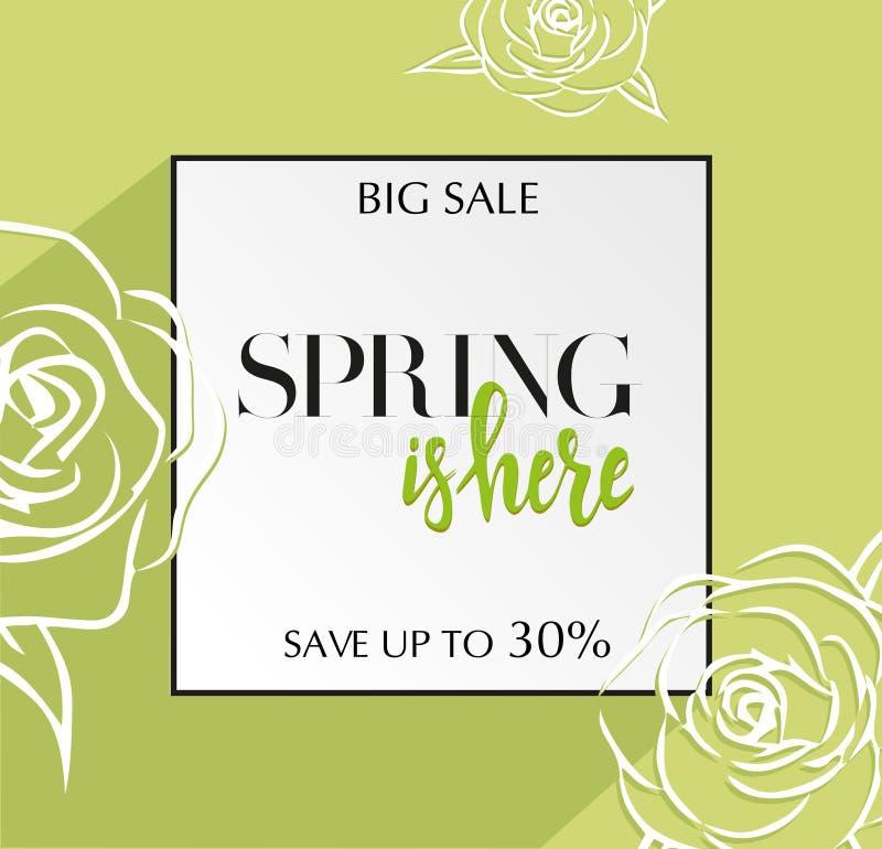 与在春天上写字的设计横幅在这里商标 春季的绿卡与黑框架和玫瑰 促进提议与 向量例证
