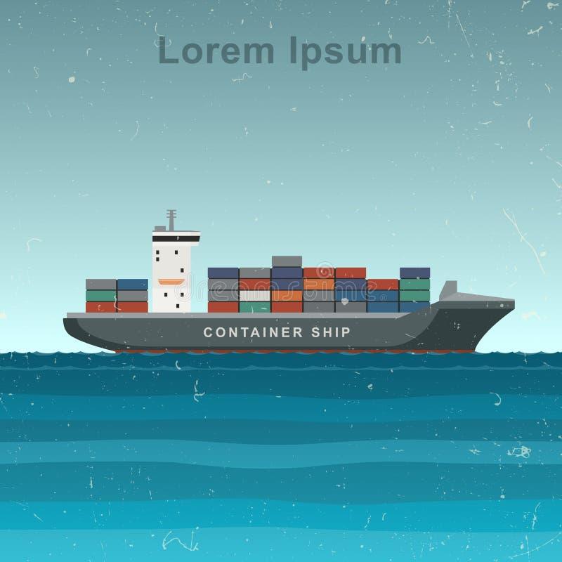 与在机上的容器的货船 库存例证