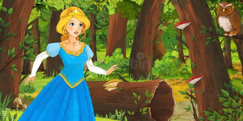 与在森林里遇到对猫头鹰飞行的愉快的少女公主的动画片场面 皇族释放例证