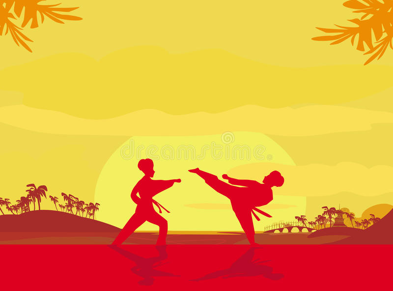 与在海滩附近的一个敌人战斗,当太阳落下 向量例证