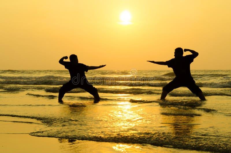 与在海滩附近的一个敌人战斗 免版税图库摄影