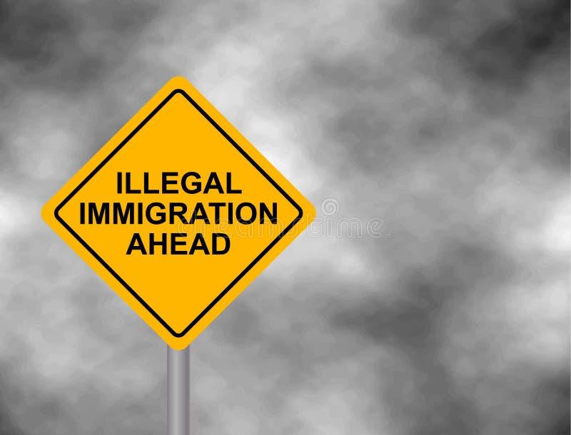 与在灰色天空背景隔绝的前面非法移民消息的黄色路标 黄色危险警报信号 传染媒介illu 向量例证