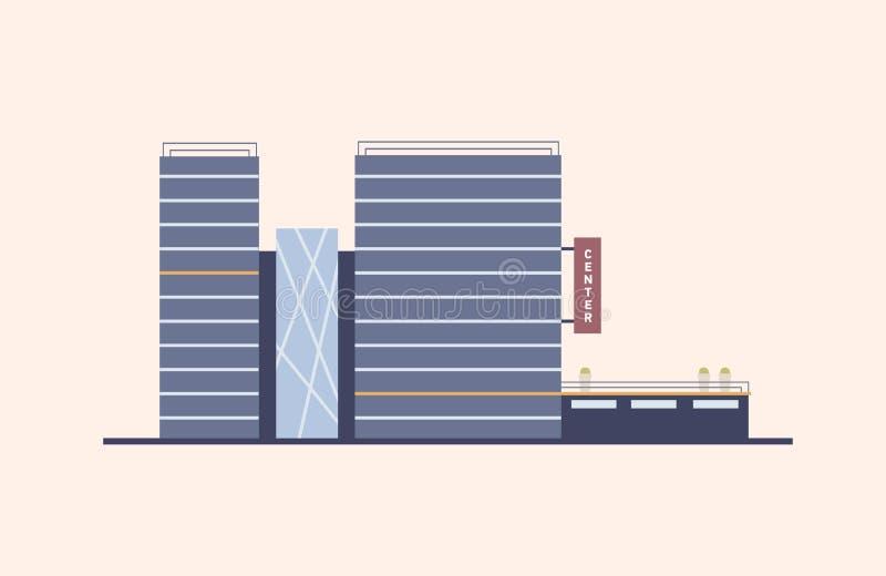 与在现代建筑风格修造的玻璃门面的企业、商务或者办公室中心使用自然材料 向量例证